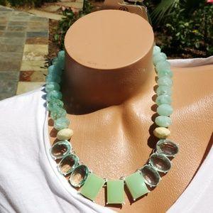 New! Mint Chunky Boho Statement Necklace Wow!